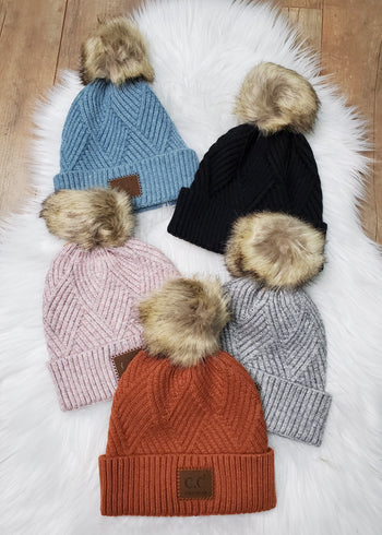 C.C Diagonal Knit Pom Hats