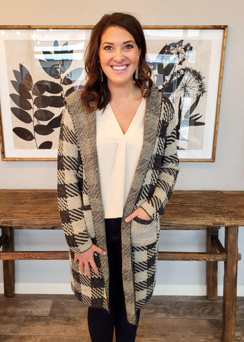 Taupe & Gray Plaid Hooded Cardigan