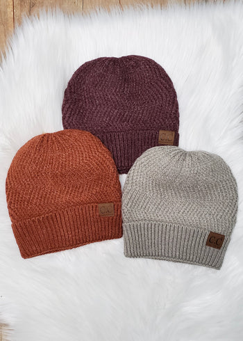 C.C Chevron Knit Cuffed Beanies - 3 Colors!