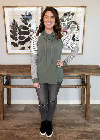 Green Striped Cowl Neck Pullover