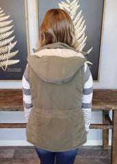 Olive Hooded Cinch Waist Vest