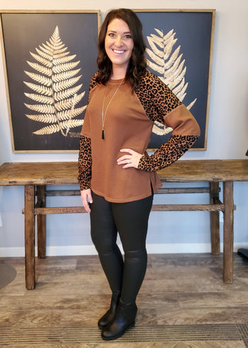 Leopard Sleeve Coffee Animal Top