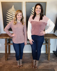 Winter Lovin' Mauve & Ivory Puffy Sleeve Top