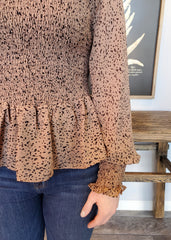 Mocha Ruffle Detail Dotted Smocked Top