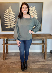 Cold Shoulder Balloon Sleeve Tops - 2 Colors!