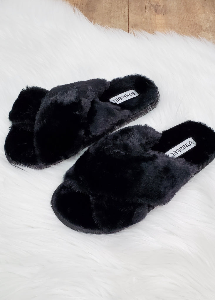 Fuzzy Black Criss Cross Slippers
