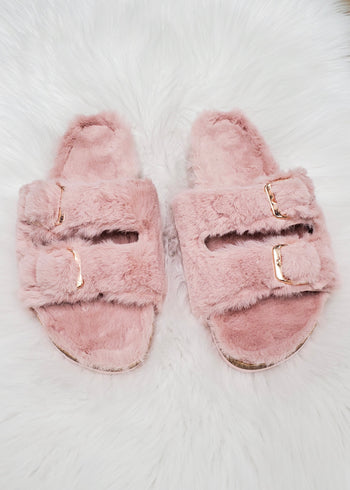 Blush Fuzzy Buckle Strap Slippers
