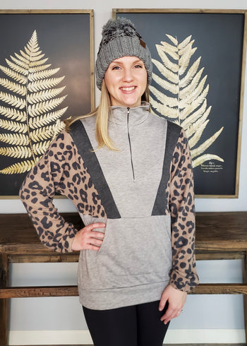 Brushed Animal Sleeves Gray Zip Pullover