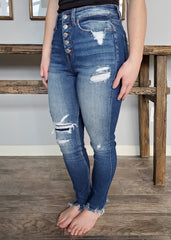 Vervet High Rise Button Fly Destructed Skinny Jeans