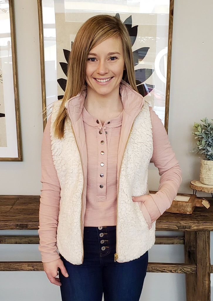 Blush Reversible Quilted & Sherpa Vest