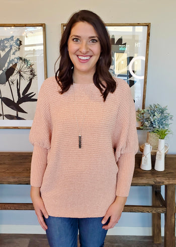 Chenille Peach Dolman Top