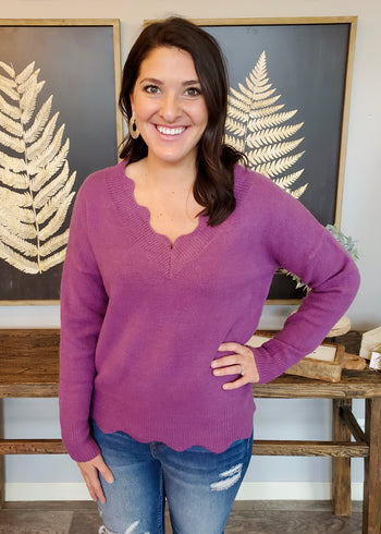 Scalloped Sweaters - 3 Colors!