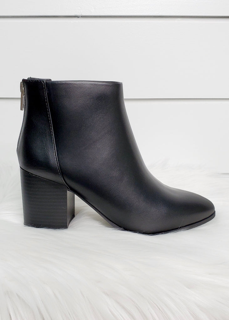 Wood Heel Zipper Booties - 2 Colors!