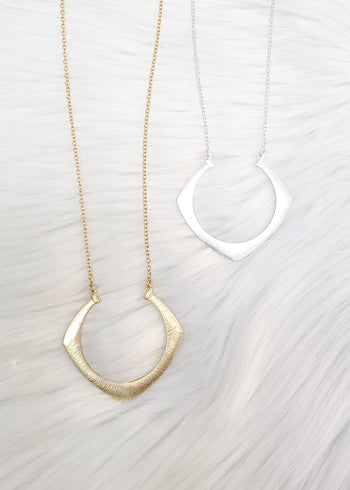 Long Curved Diamond Necklaces - 2 Colors!