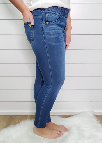 Democracy Ab Solution Medium Wash Pull On Glider Ankle Length Jegging Jean