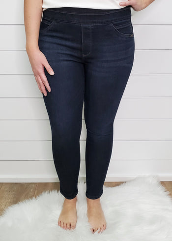Democracy Ab Solution Dark Wash Pull On Glider Ankle Length Jegging Jean