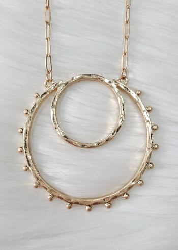 Double Circle Studded Long Necklaces - 2 Colors!
