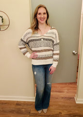Striped Twist Back Pullovers - 2 Colors!