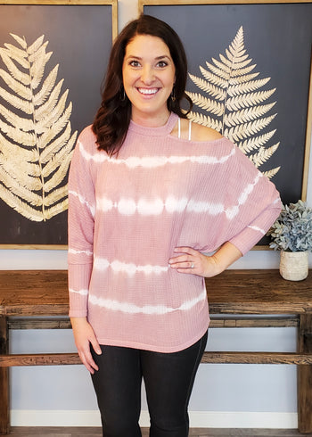 Mauve Tie Dye Cut Out Sleeve Top