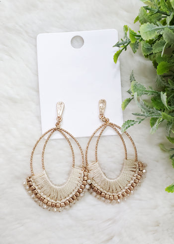 Champagne Threads Beaded Earrings