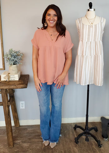 Dusty Peach Frayed Pocket Top