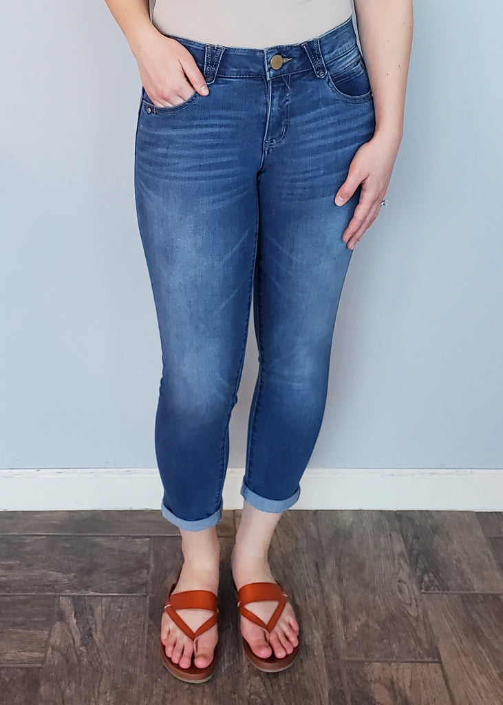 Democracy Absolution Mid Rise Medium Wash Clean Cropped Jeans