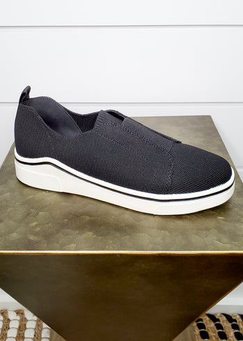 MIA Greyson Slip On Cushioned Black Knit Sneaker