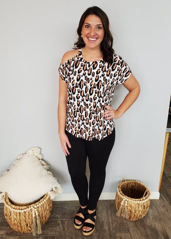 Wild For Summer Buttery Soft Cold Shoulder Animal Top