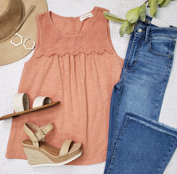 Dusty Peach Lace Tank Top