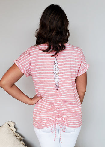 Striped Cinch Open Back Tops - 2 Colors!