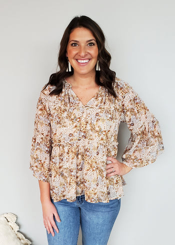 Boho Summer Floral Ruffle Top