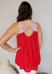 The Cherry On Top Red Floral Tie Back Tank