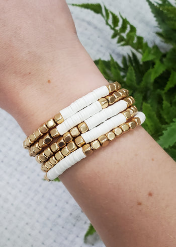 White & Gold Beaded Bracelets