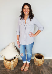 Blue Gray Summer Button Down Top