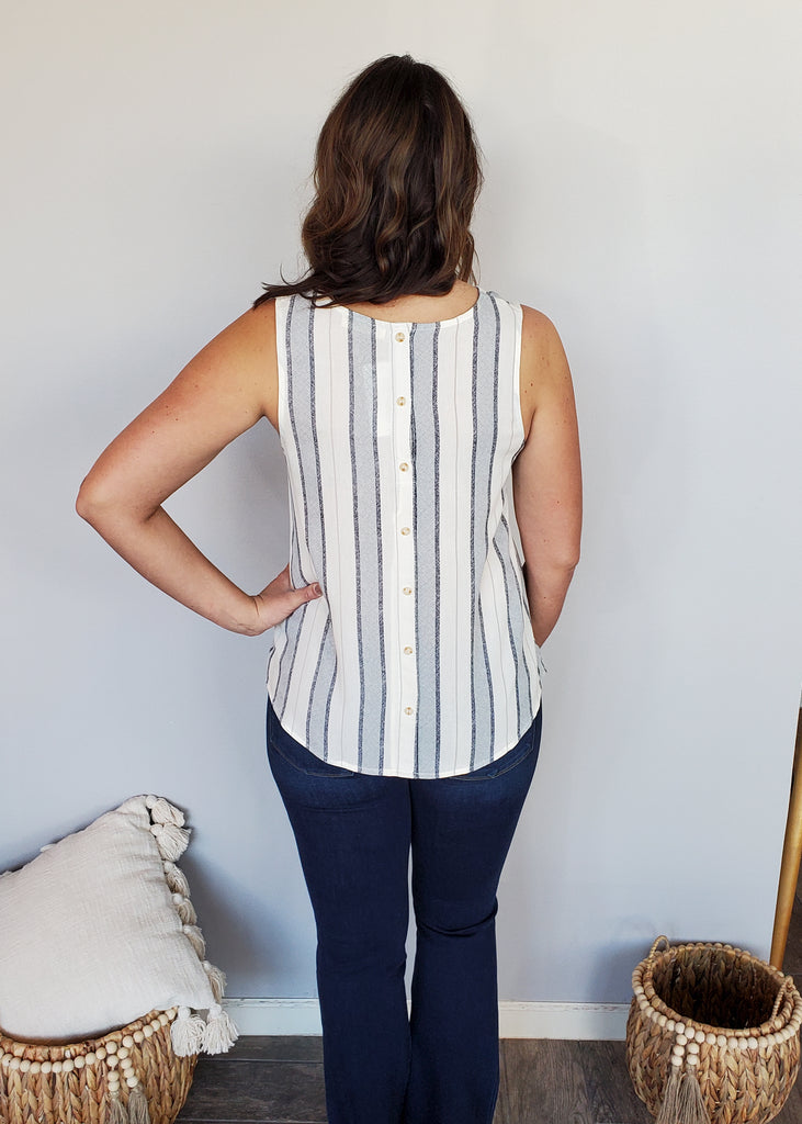 Lightweight Striped Button Back Pocket Tanks - 2 Colors!