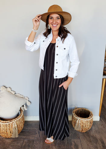 Black & White Vertical Striped Pocket Maxi Dress