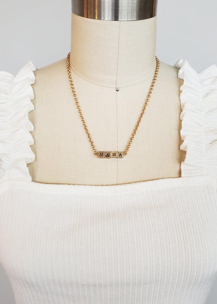 Mama Letter Block Necklaces - 2 Colors!