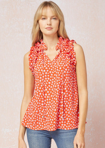 Stop & Smell The Flowers Ruffle Tank Tops - 2 Colros!