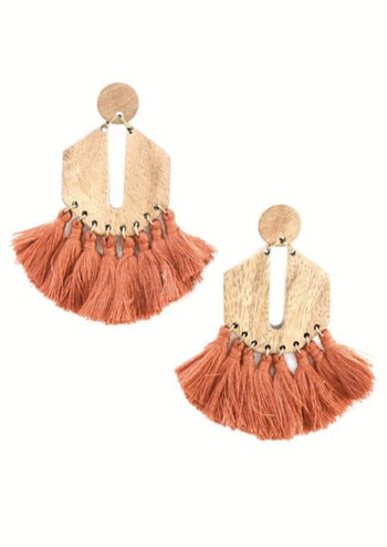Rust Boho Wood Fringe Earrings