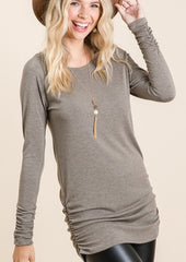 Side Ruched Tunic Tops - 4 Colors!