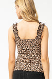 Animal Ruffle Strap Tank