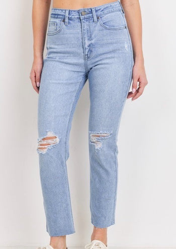 Just Black High Rise Light Wash Scissor Hem Jeans