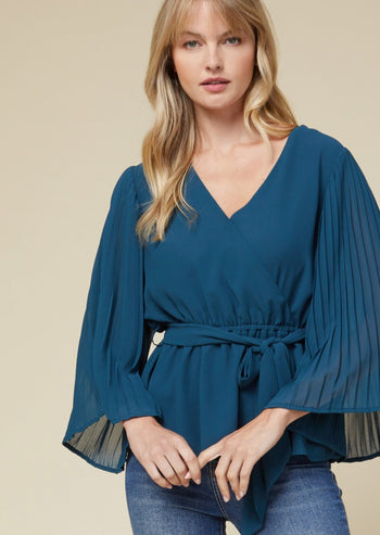 Pretty Teal Pleated Sleeve Top