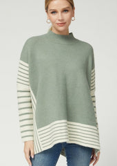 Striped Mock Neck Sweaters - 2 Colors!