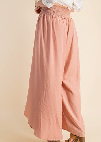 Dusty Peach Silky Smocked Wrap Tulip Pants