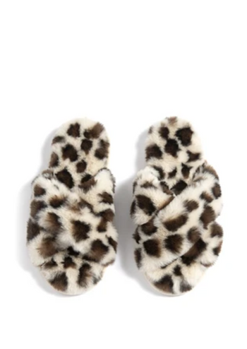Animal Criss Cross Faux Fur Slippers