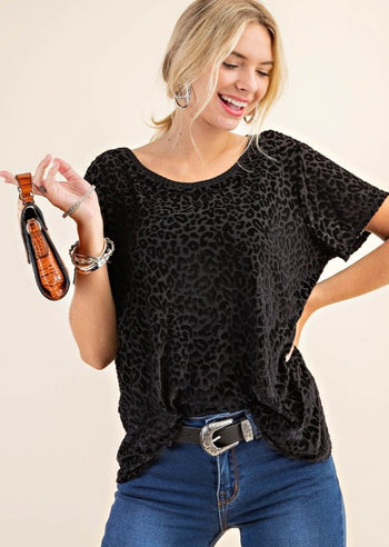 Semi Sheer Black Leopard Top