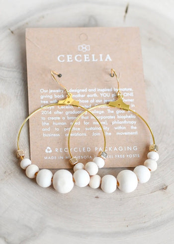 Ivory Wood Bead Hoop Earrings