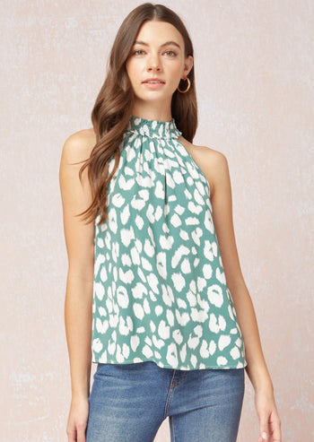 Sage Animal Halter Tank Top