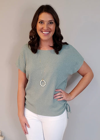Sage Side Cinched Ribbed Top